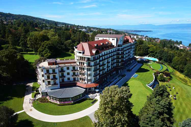 Helicopter view Royal Evian hotel