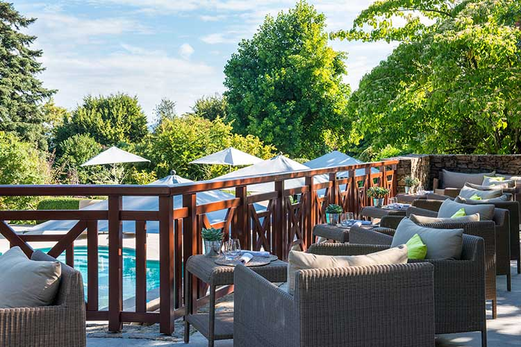 outdoor terrace at Hotel Ermitage Evian
