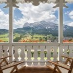 Balcony with mountain view at Cristallo Resort & Spa