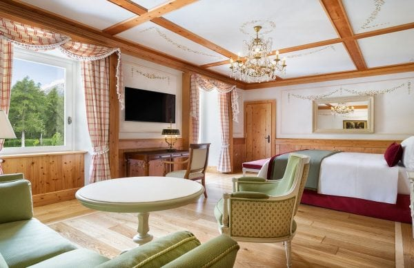Bedroom with sitting area at Cristallo Resort & Spa