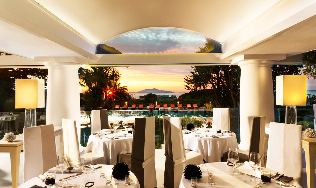 Capri Palace Hotel- Restaurant at sunset