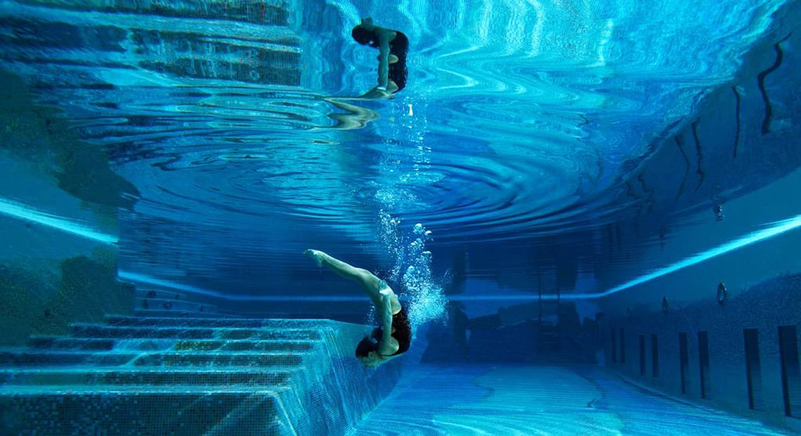 Girl underwater in the Capri Palace swimming pool