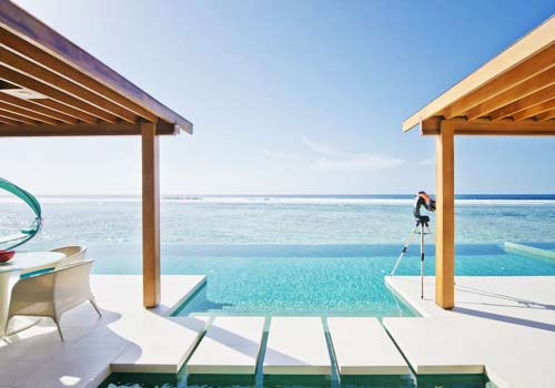 Patio by sea at Niyama Private Islands Maldives