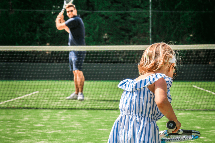 Sheraton Mallorca Father and her child playing tennis