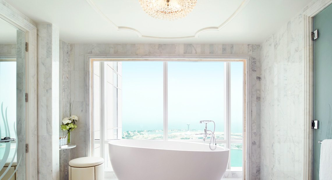 St Regis Abu Dhabi-bathroom with sea view