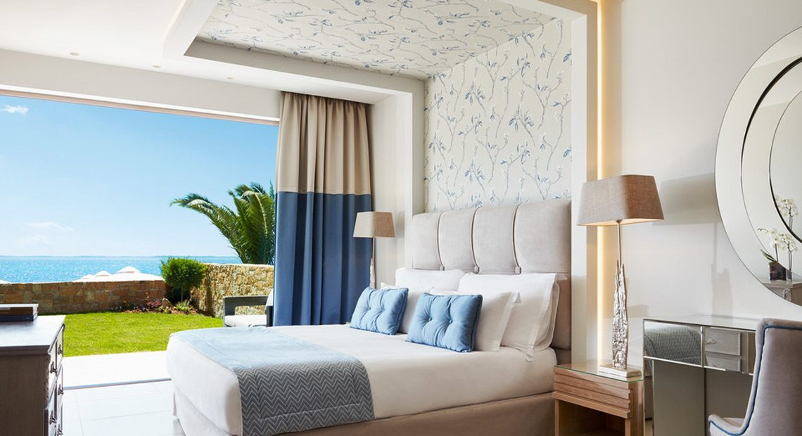 Ikos Olivia Resort-bedroom with sea view