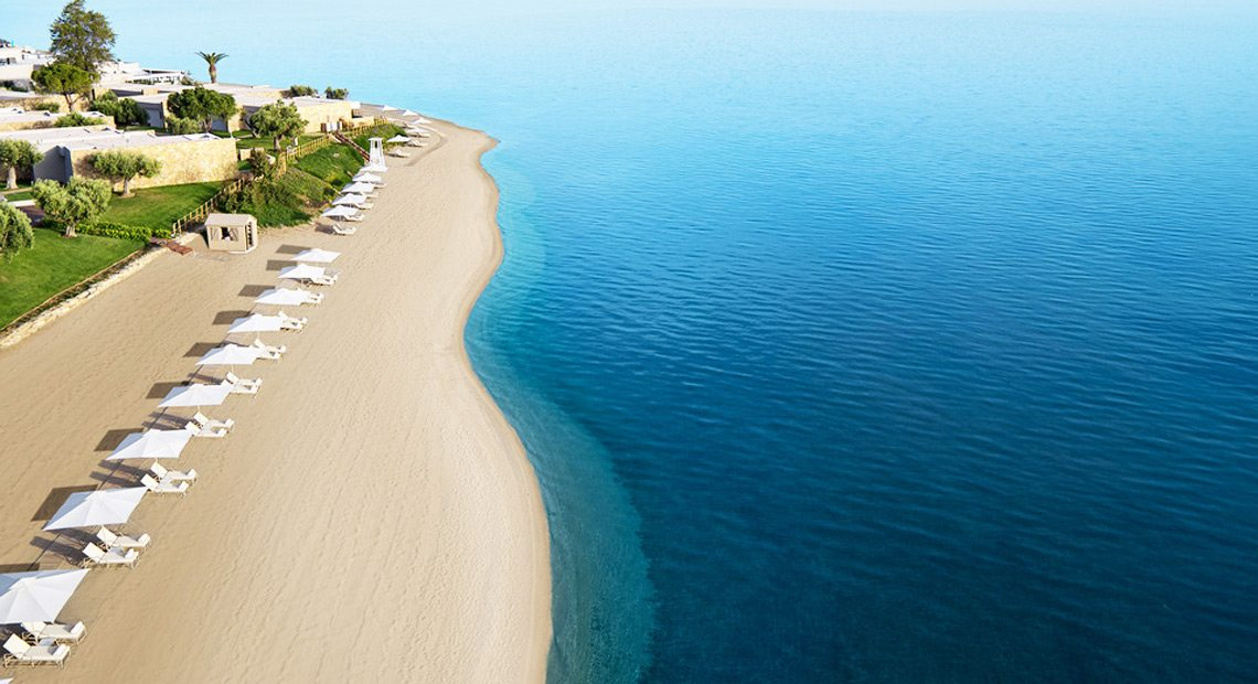 Ikos Olivia Resort-aerial view of the beach