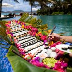 Dining in the water at Necker Island