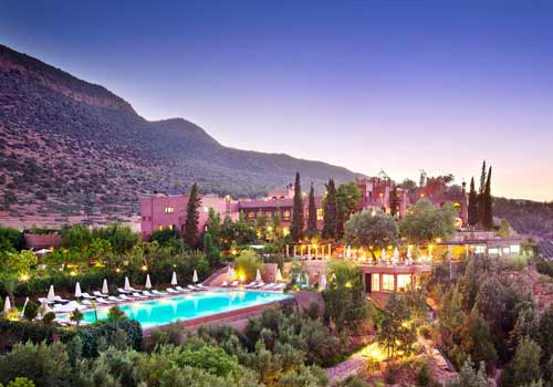 View at night pool of Kasbah Tamadot