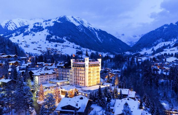 Gstaad Palace snow-covered