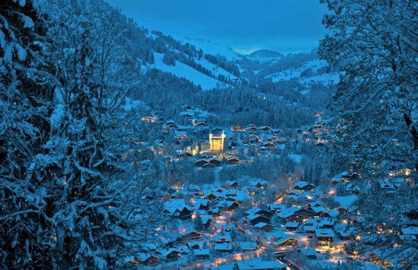 Gstaad Palace viewed from the mountains during winter time