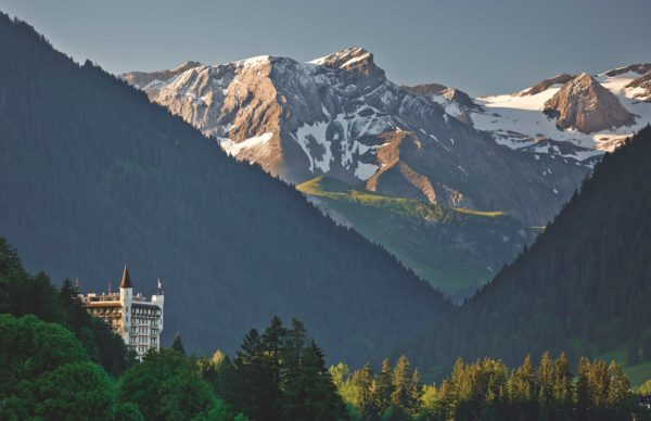 Gstaad Palace view from the mountains during summertime