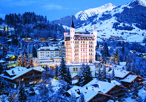 Gstaad Palace covered in snow