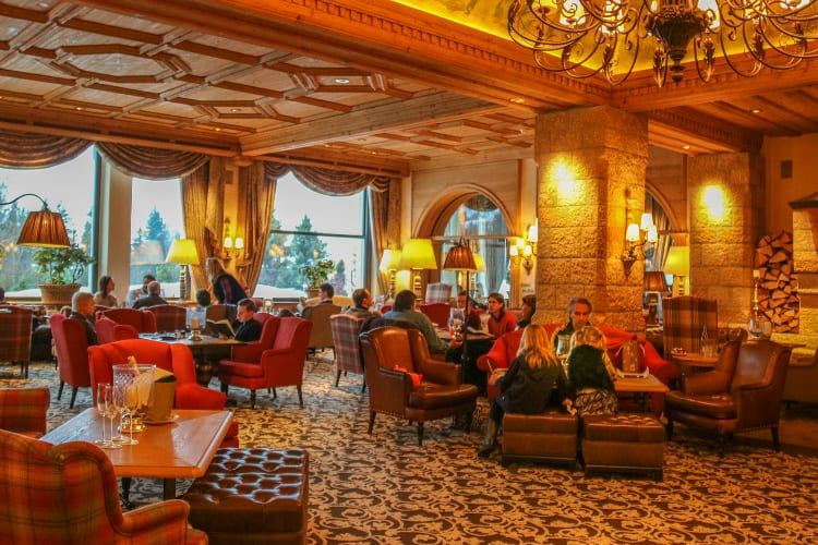 People enjoying the Gstaad Palace common area