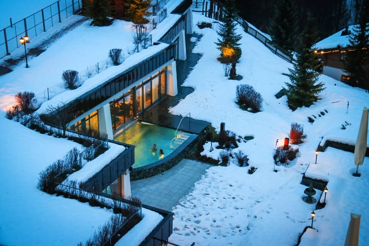 Gstaad Palace pools during the wintertime