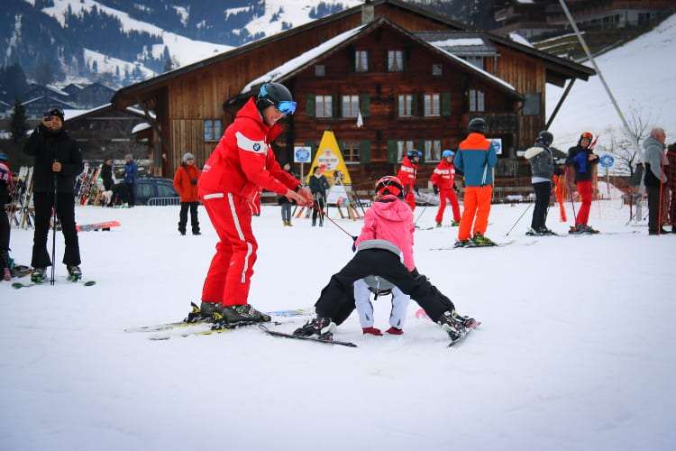 Kids enjoying the snow at Gstaad Palace