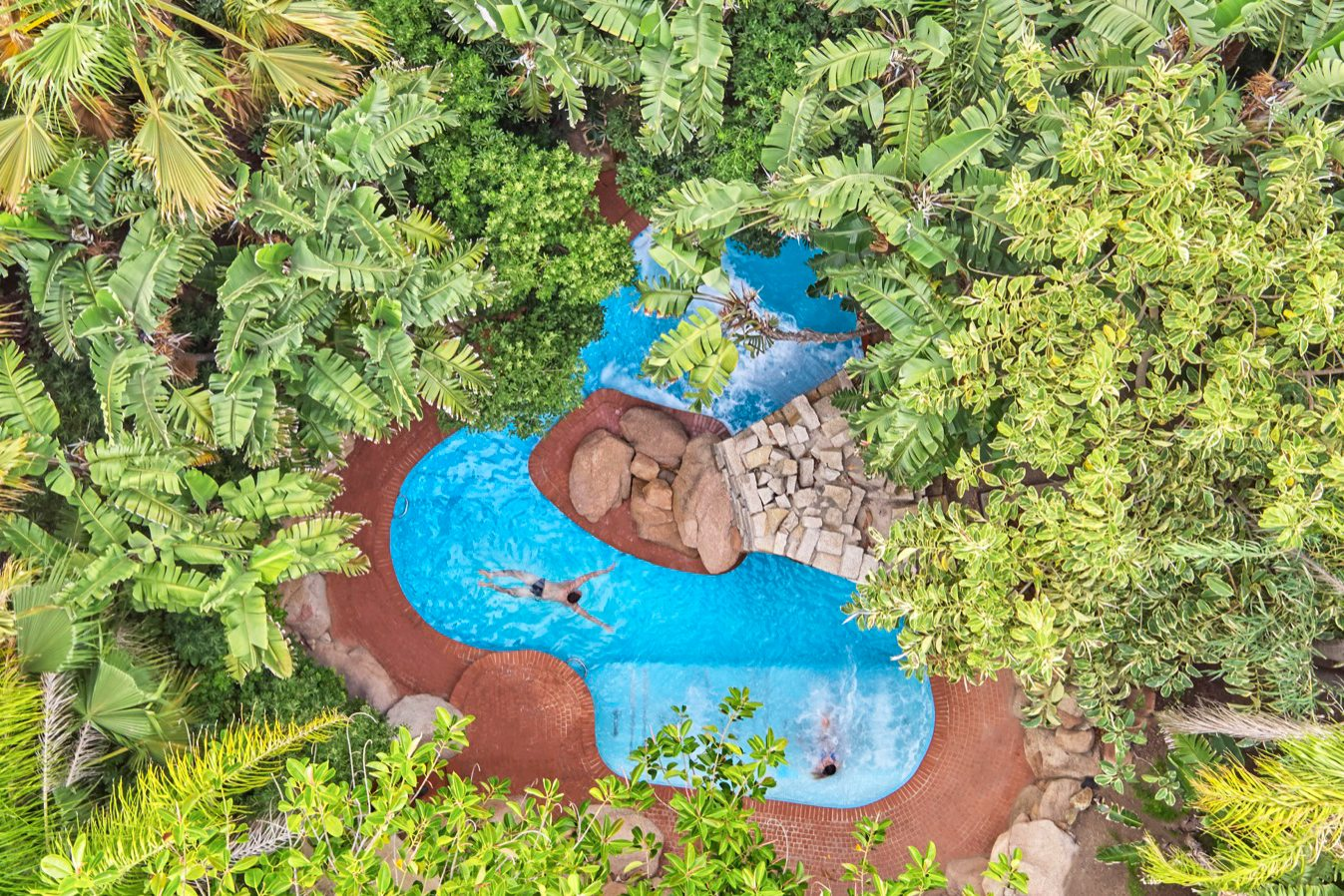 Spa's private pool in tropical garden at Forte Village Resort