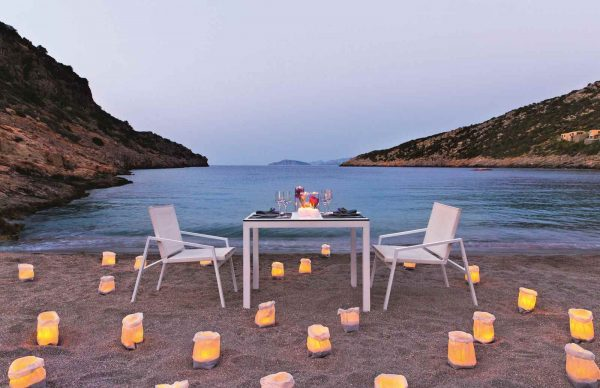 Dinner on the beach Daios Cove