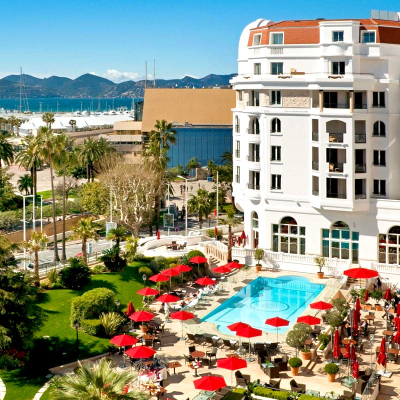 Anoramic view on the Hôtel Barrière Le Majestic Cannes ***** in France