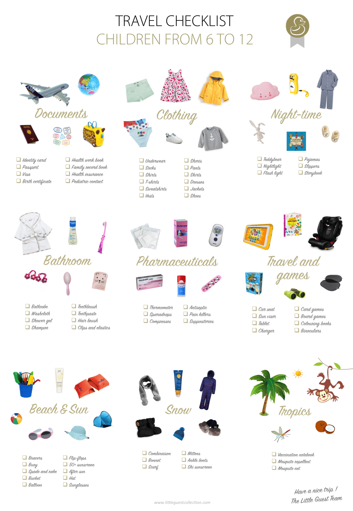 Travel checklist for children from 6 years, 7 years, 8 years, 9 years, 10 years, 11 years to 12 years (documents, clothing, night-time, bathroom, meals, pharmaceuticals, travel, games, sun, beach, tropics et snow)