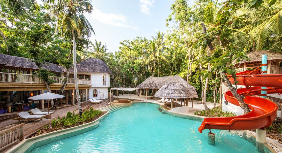 Hotel Soneva Fushi swimming pool with tobogan