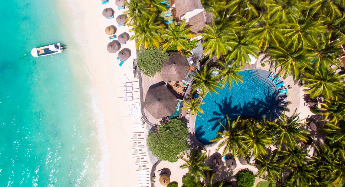 View from the sky on the Constance Belle Mare Plage hotel