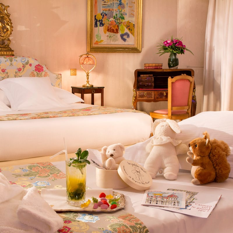 Welcome gift and toys for kids at the Negresco Hotel in Monte Carlo