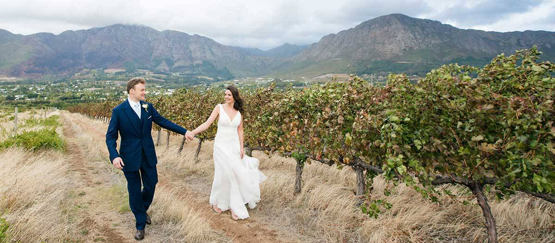 A couple celebrates their second weddingat Mont Rochelle in South Africa