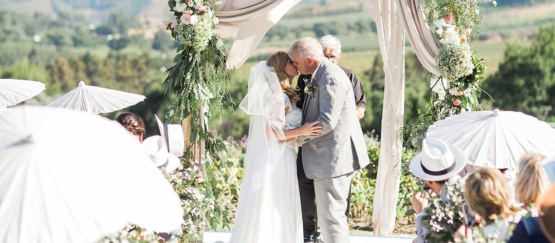 A couple celebrates their wedding at Mont Rochelle in South Africa