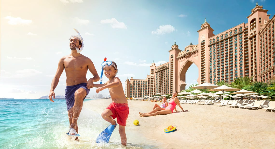 Atlantis Dubai dad and boy on the beach