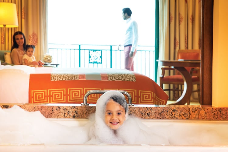 Child in bath at Atlantis The Palm Dubai