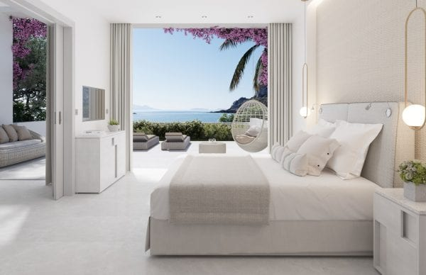 White suite with private garden at Ikos Aria