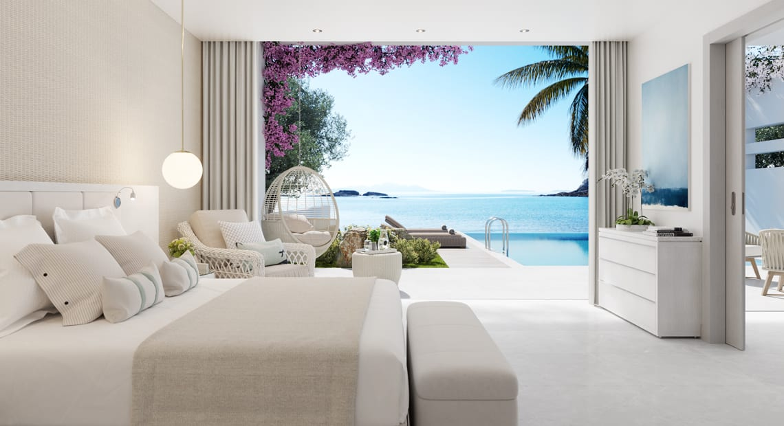 suite with seaview at ikos aria