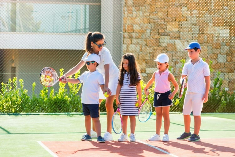Tennis session for children at Ikos Dassia