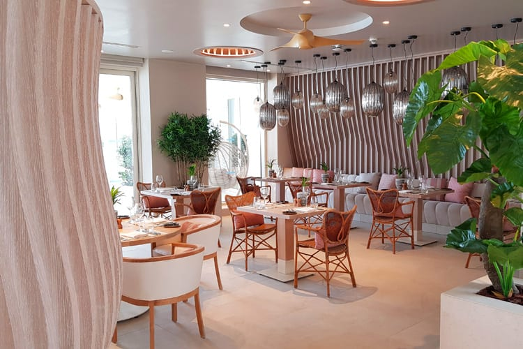 The beautiful restaurant at the Ikos Aria hotel in Kos