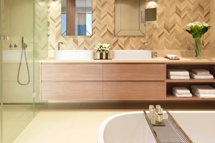 Bathroom with shower and bath at Ikos Aria