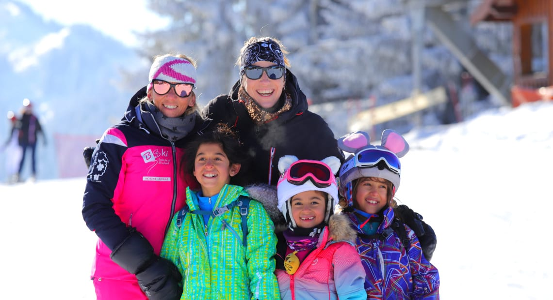 Kids with ski animators in Morzine at La Bergerie luxury hotel