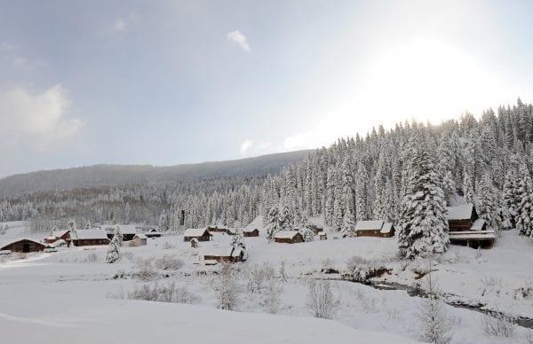 Landscape covered in Snow Dunton Hot Springs