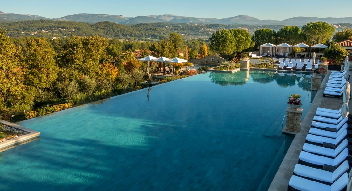 The amazing panoramic outdoor pool of the Terre Blanche Hotel Spa Golf Resort