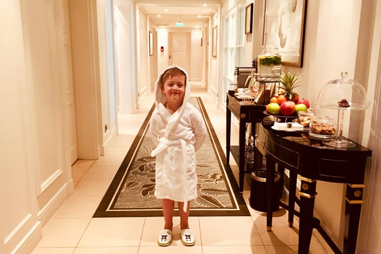 Shangri-La Paris Little boy ready to explore the spa