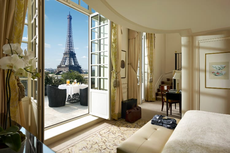 Shangri-La Paris Bedroom with a private terrace and a view