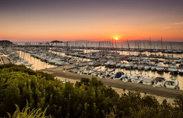 Panoramic view of the marina in Punta Ala in Tuscany