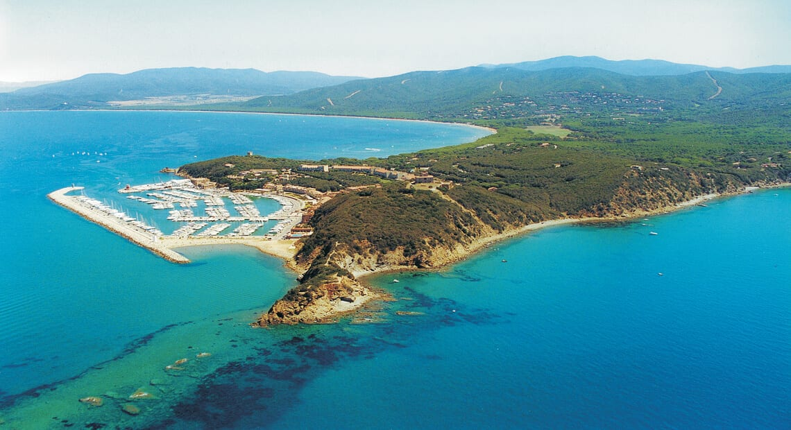Aerial view of Punta Ala in Tuscany