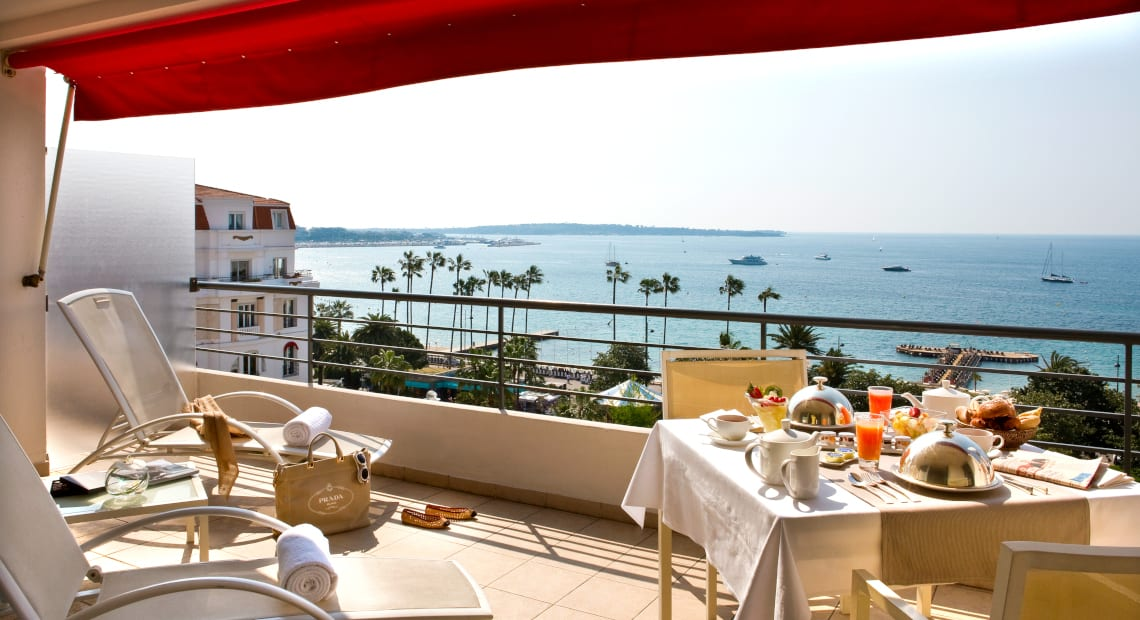 Terrace view at the Hotel Barrière Le Majestic Cannes