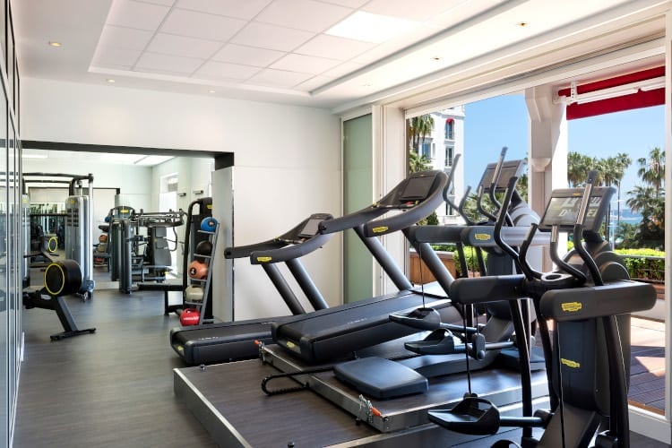 Fitness room of the Hotel Barrière Le Majestic Cannes