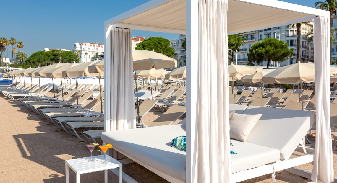 Private Beach at Hotel Barriere Le Gray d'Albion in Cannes