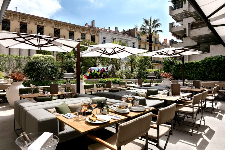 Restaurant at Hotel Barriere Le Gray d'Albion in Cannes