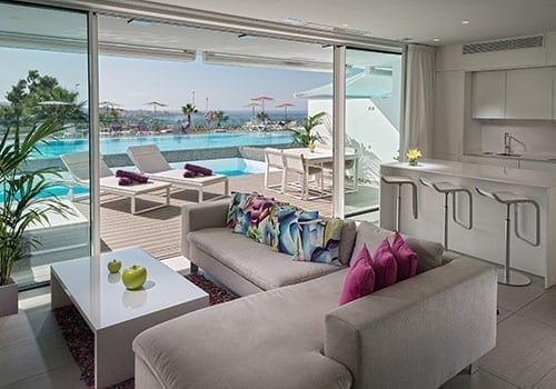 Baobab Suites living room with private pool