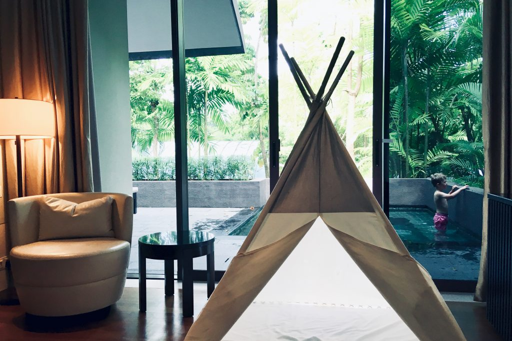 Kid's tepee in a room at Private pool at Capella Singapore