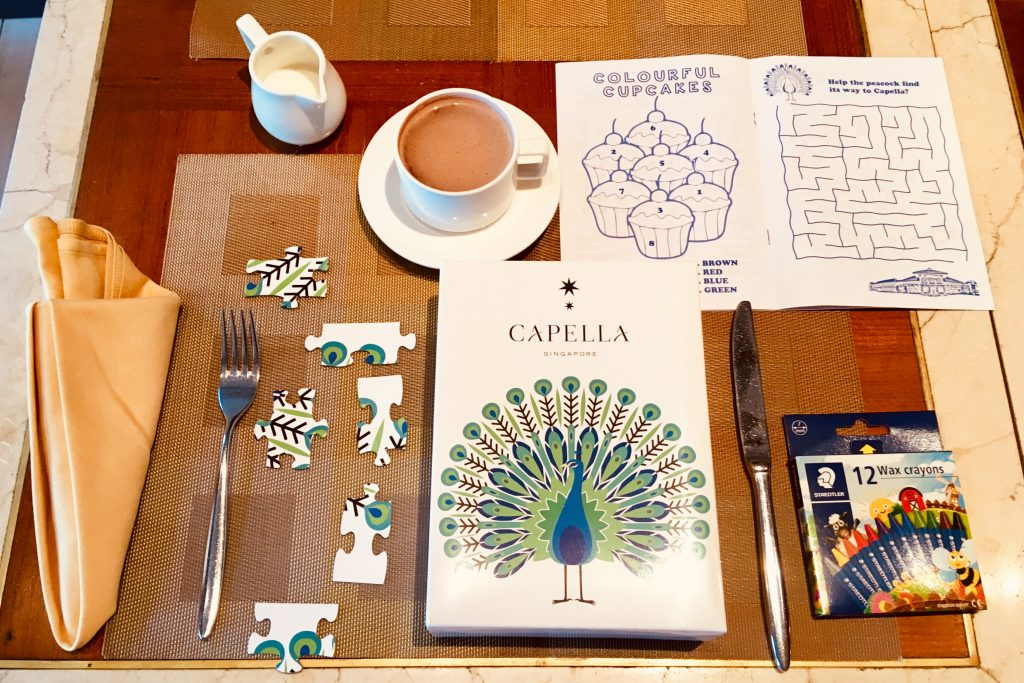 Activites for kids at breakfast time at Capella Singapore